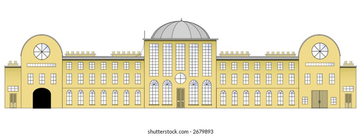 Editable vector drawing of a generic country manor