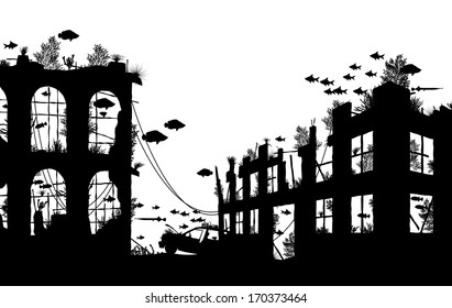 Editable vector foreground silhouette of fish and coral around underwater city ruins