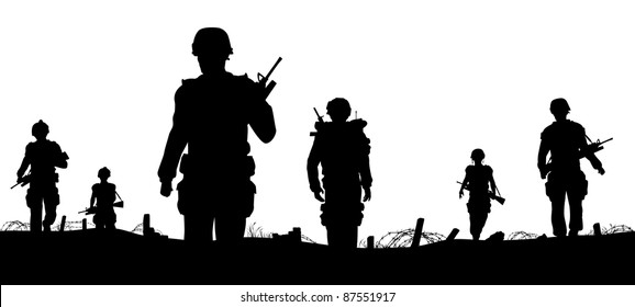Editable vector foreground of silhouettes of walking soldiers on patrol with figures as separate elements