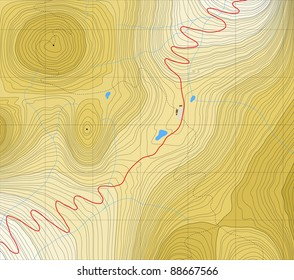 Editable vector generic map of a road over a mountain pass with no labels