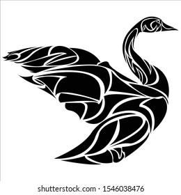 editable vector of goose body tribal logo