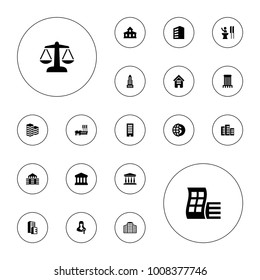 Editable vector government icons: building, modern curved building, business center, globe dollar, woman speaker, speaker, court on white background.