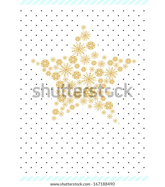 Editable vector graphic Christmas Card Template Star with patterns and snowflakes shapes