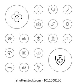 Editable vector hospital icons: bed, tablet, heartbeat, case with heart, blod pressure tool, medical cross tag, drop counter, medical sign, first aid kit on white background.