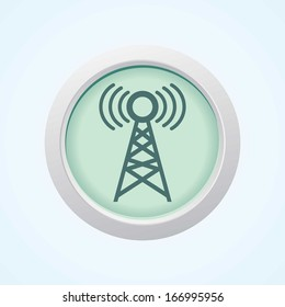 Editable Vector Icon of Network Tower on Button. Eps-10.