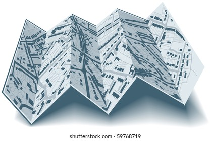 Editable vector illustrated folding map of housing in a generic town without names