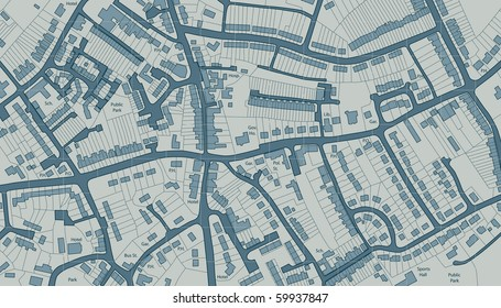 Editable vector illustrated map of housing in a generic town