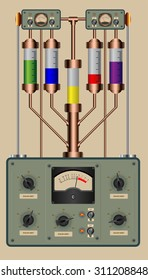 Editable vector illustration of analog control panel of a steampunk style device