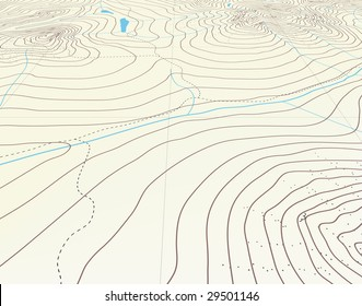 Editable vector illustration of an angled generic contour map