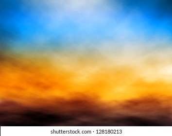 Editable vector illustration of bank of clouds in a sunset sky made with a gradient mesh