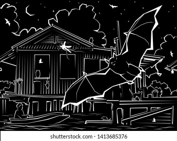 Editable vector illustration of a bat hunting mosquitoes around waterside houses