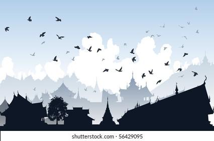 Editable vector illustration of birds over a generic east asian city