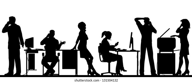Editable vector illustration of business people in an office all talking on cellphones with all elements as separate objects