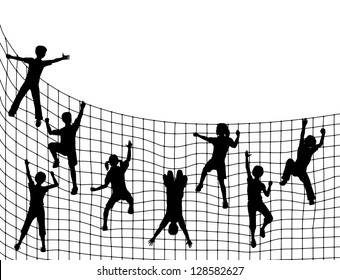 Editable vector illustration of children silhouettes climbing a net with kids as separate objects