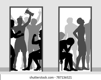 Editable vector illustration contrasting the victorious and defeated sports team changing rooms
