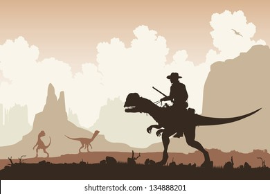 Editable vector illustration of a cowboy riding a Dilophosaurus dinosaur in a primeval landscape