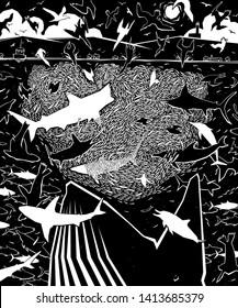 Editable vector illustration of diverse predators attacking a fish baitball in the sea