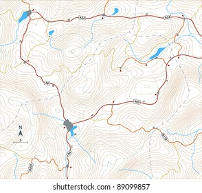 Editable vector illustration of a generic map showing relief contours