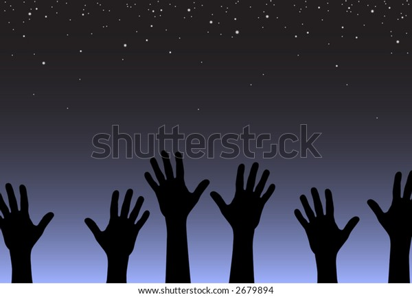 Editable vector illustration of hands reaching for the stars