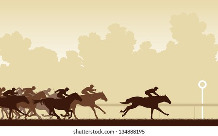 Editable vector illustration of a horse race with one horse and jockey about to win