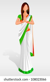 Editable vector illustration of Indian Lady in Indian Flag Sari