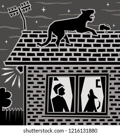 Editable vector illustration of a leopard on a house roof at night