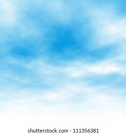 Editable vector illustration of light clouds in a blue sky made using a gradient mesh