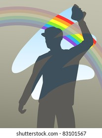 Editable vector illustration of a man cleaning a window to reveal a rainbow
