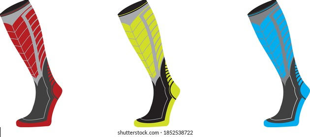 editable vector illustration of a modern running compression socks design concept .