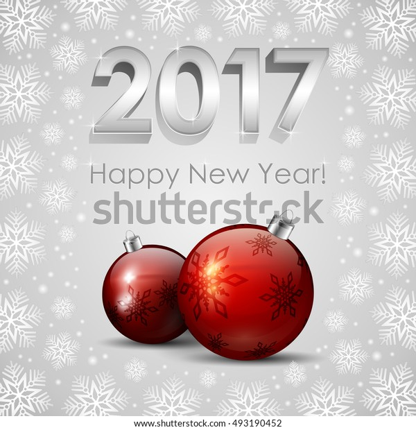 An editable vector illustration of New 2017 Year numbers, red Baubles and snowflakes