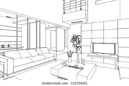 Editable vector illustration of an outline sketch of a interior. 3D Graphical drawing interior