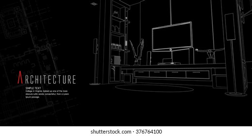 Editable vector illustration of an outline sketch of a living room interior