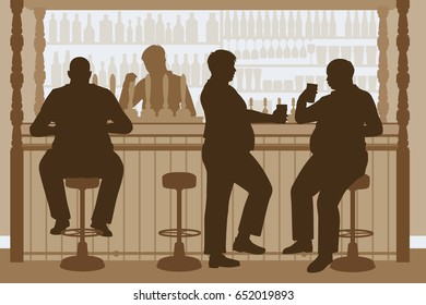 Editable vector illustration of overweight men drinking beer at a bar