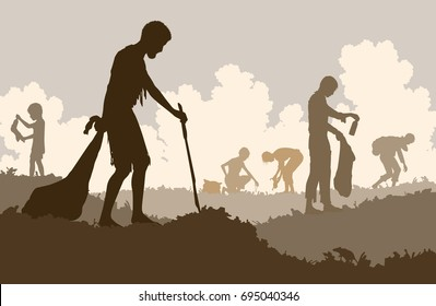 Editable vector illustration of poor people scavenging recyclable trash from a rubbish tip with figures as separate objects