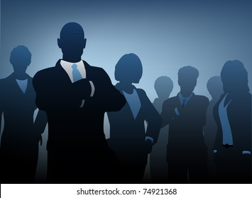 Editable vector illustration of silhouettes of a business team