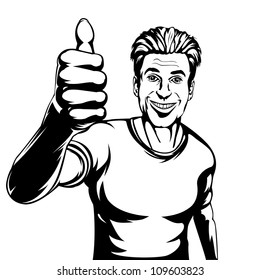 Editable vector illustration of a smiling man giving a thumbs up gesture