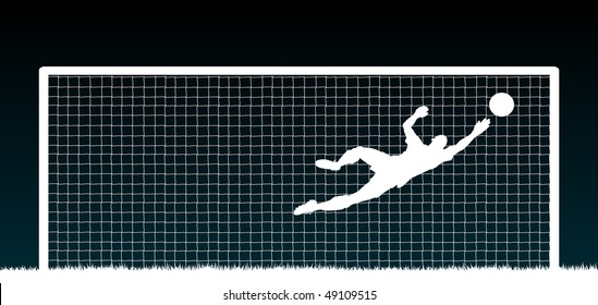Editable vector illustration of a soccer goalkeeper making a save