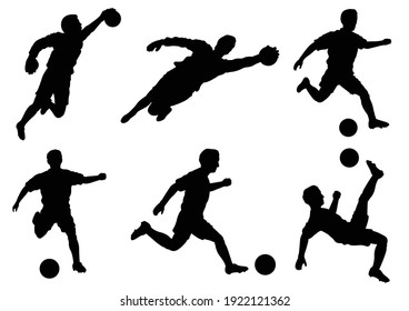 an editable vector illustration of soccer players silhouette as a set