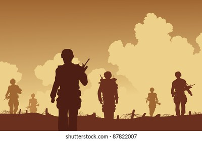 Editable vector illustration soldiers walking on patrol