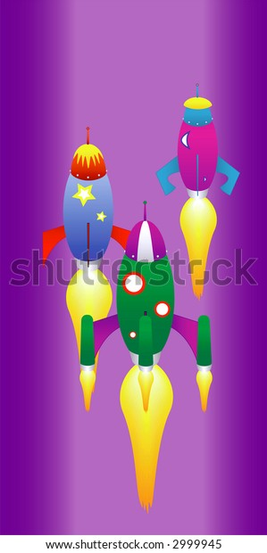 editable vector illustration of space rockets racing in outer space.