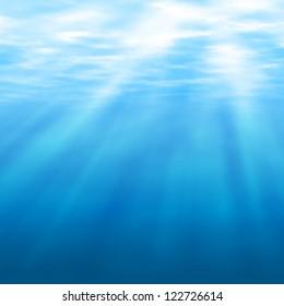 Editable vector illustration of sunlight filtering under water made using a gradient mesh
