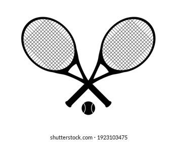 an editable vector illustration of tennis rackets as black silhouette