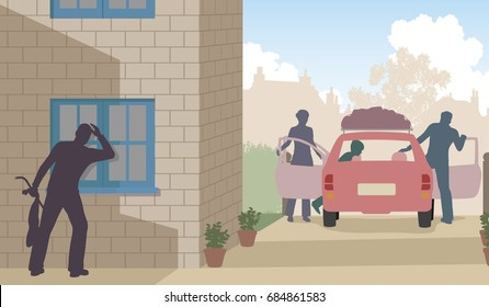 Editable vector illustration of a thief taking the opportunity to burglar as a family goes on vacation