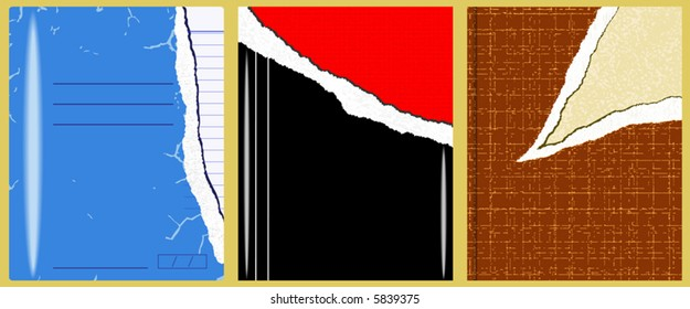Editable vector illustration of three separate books with torn covers