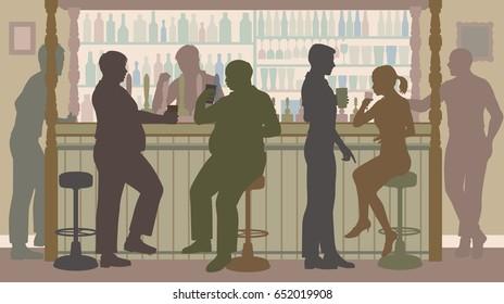 Editable vector illustration of various sociable people around a busy bar
