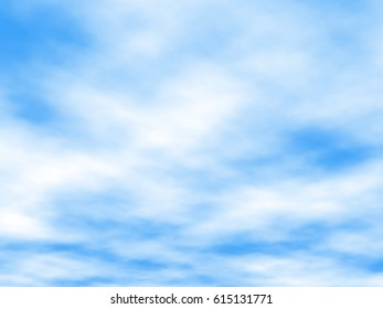 Editable vector illustration of white clouds in a blue sky made using a gradient mesh