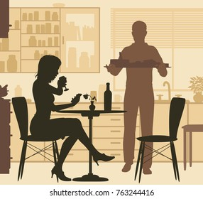 Editable vector illustration of a woman being served food by a man at home