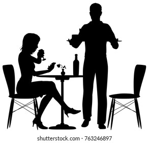 Editable vector illustration of a woman being served food by a man who could be a waiter or her partner with elements as separate objects