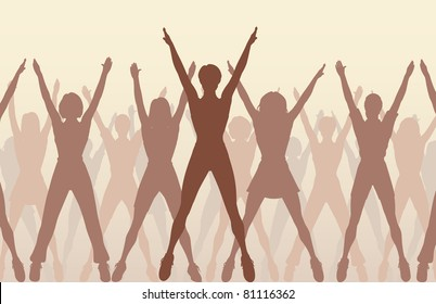 Editable vector illustration of women silhouettes doing aerobic dance exercise together