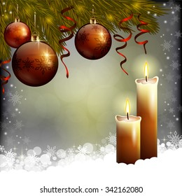 An editable vector illustration of Xmas tree, baubles and candles